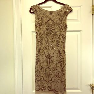 Beige/taupe sequined cocktail dress
